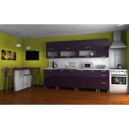 Praktická kuchyňská linka v fialovém lesku s úchytkami RLG F1328