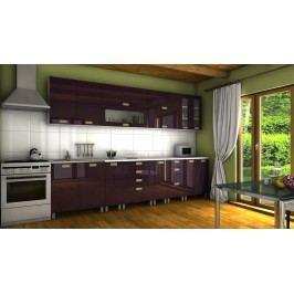 Kuchyňská linka ve fialovém lesku s úchytkami RLG 300 cm F1334