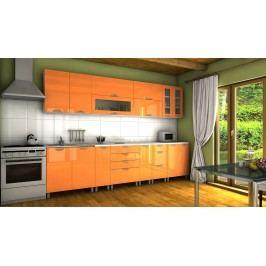 Kuchyňská linka v oranžovém lesku s úchytkami RLG 300 cm F1334