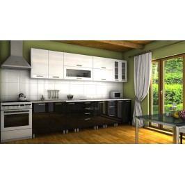 Kuchyňská linka v kombinaci bílého a černého lesku s úchytkami RLG 300 cm F1334