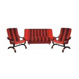 Sedací souprava s úložným prostorem v kombinaci červené a černé barvy 3+1+1 F1314