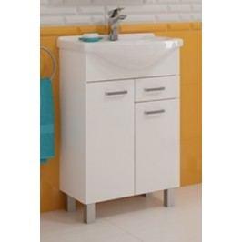 Koupelnová skříňka s umyvadlem 2D1S v provedení bílý lesk 46 cm F1297