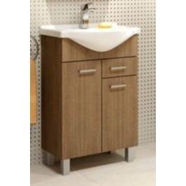 Koupelnová skříňka s umyvadlem 2D1S v dekoru dub rijeka 52 cm F1297