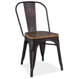 Jídelní kovová židle v barvě grafit s dekorem ořech KN380