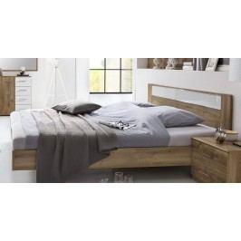 Manželská postel 180x200 cm v dekoru dub divoký s dekorativním sklem typ 293 KN809
