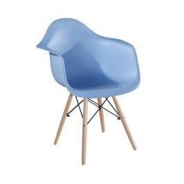 Designové trendy křeslo v kombinaci dřeva buk a plastu modré barvy TK190
