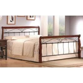 Manželská postel 180x200 cm v dekoru antická třešeň a černé barvy s roštem KN811