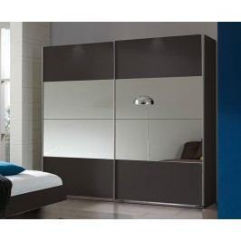 Šatní skříň 225 cm s posuvnými dveřmi se zrcadlem a v lávové barvě s korpusem láva typ 791 KN815