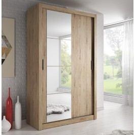 Šatní skříň 120 cm s posuvnými dveřmi v dekoru dub se zrcadlem a korpusem dub KN824
