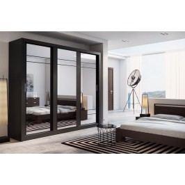 Šatní skříň 250 cm s posuvnými černými dveřmi se zrcadlem a černým korpusem KN821