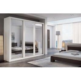 Šatní skříň 250 cm s posuvnými bílými dveřmi se zrcadlem a bílým korpusem KN821