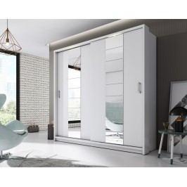 Šatní skříň 220 cm s posuvnými bílými dveřmi se zrcadlem a bílým korpusem KN826