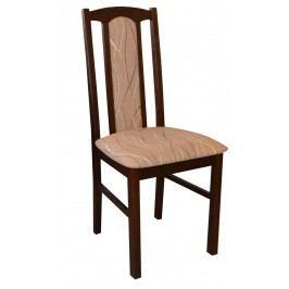 Jídelní židle v dekoru ořech očalouněná látkou v béžové barvě se vzorem F1326