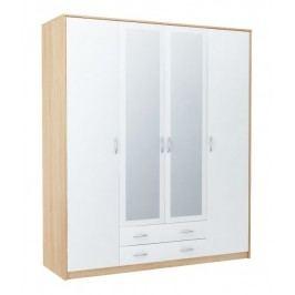Šatní skříň 168 cm s bílými dveřmi se zrcadlem a korpusem v dekoru dub sonoma KN841