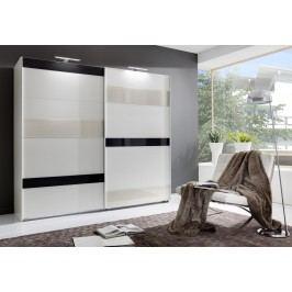 Šatní skříň 225 cm s posuvnými bílými dveřmi s prosecco a šedými skly a s bílým korpusem KN843