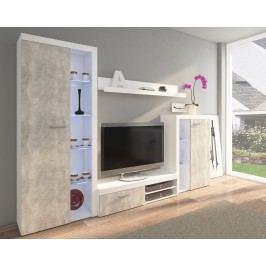 Obývací stěna v betonové a bílé matné barvě KN854