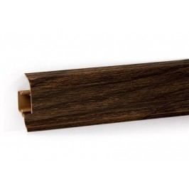 Podlahová lišta PVC odklápěcí pro kabel dekor dub tmavě hnědý LP55