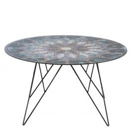 Kulatý konferenční stolek 80 cm se skleněnou deskou s potiskem na kovové konstrukci DO042