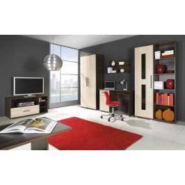 Obývací sestava v dekoru jasan světlý a korpusem v dekoru jasan tmavý typ A F2010