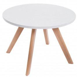 Kulatý konferenční stolek 60 cm v bílé matné barvě na dřevěné konstrukci DO034