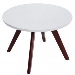 Kulatý konferenční stolek 60 cm v bílé matné barvě na dřevěné konstrukci v barvě cappuccino DO034
