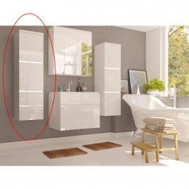 Skříňka koupelnová vysoká v kombinaci bílý lesk a bílá WH11 TK3067