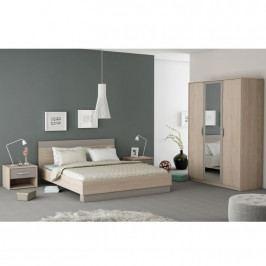 Ložnicový komplet (skříň + postel + 2x noční stolek), dub arizona / šedá,  TK2164