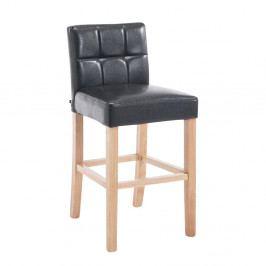 Barová židle čalouněná hnědou ekokůží na dřevěné podnoži DO045