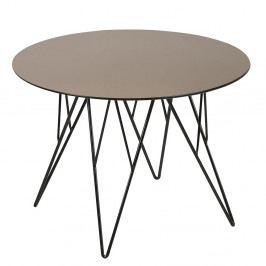 Kulatý konferenční stolek 55 cm se skleněnou deskou v bronzové barvě na kovové konstrukci DO042