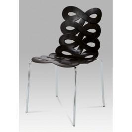 Jídelní plastová židle v černé barvě s pochromovanými nožičkami CT-337 BK