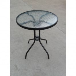 Zahradní jídelní stůl černá ocel a temperované sklo TK3202