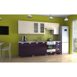 Kuchyňská linka v kombinaci fialového a jasmín lesku s úchytkami KRF 260 cm F1335