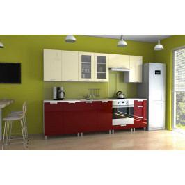 Kuchyňská linka v kombinaci bordó a vanilka lesku s úchytkami KRF 260 cm F1335