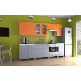 Kuchyňská linka v kombinaci oranžového a šedého lesku s úchytkami MDR 260 cm F1335