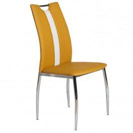 Jídelní židle čalouněná ekokůže žlutá kari a bílá nohy chrom TK3172