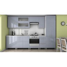 Praktická kuchyňská linka v šedém lesku s typem úchytek RLG 300 cm F1364