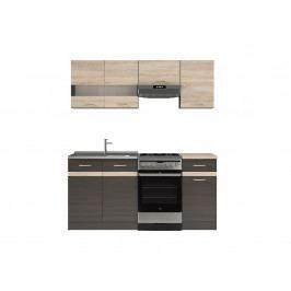 Kuchyňská linka 170 cm v kombinaci wenge a dub sonoma W001