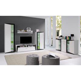 Obývací sestava v bílé a černé barvě F2018