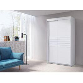 Šatní skříň 120 cm s posuvnými dveřmi v bílé barvě F2014