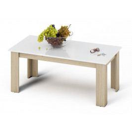 Konferenční stolek 120x60 cm v bílém lesku s dekorem dub sonoma KN869