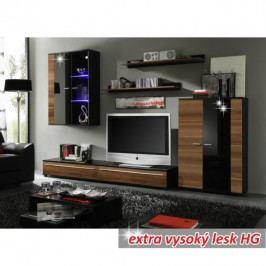 Obývací stěna s LED osvětlením dekor švestka černá extra vysoký lesk HG TK3216