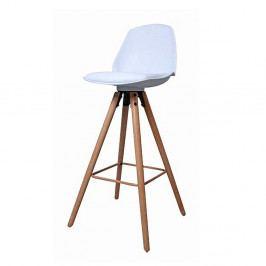 Barová židle v bílé barvě na dřevěné podnoži v dekoru dub DO046