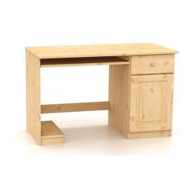 Moderní počítačový stůl s dvířky a se zásuvkou vyrobený z masivního dřeva MV080
