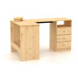 Rohový počítačový stůl se zásuvkami vyrobený z masivu v moderním stylu MV081