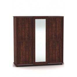 Třídveřová šatní skříň s posuvnými dveřmi a zrcadlem vyrobená z masivu MV157