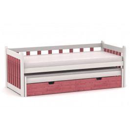 Dětská postel vyrobená z masivu s úložným prostorem a přistýlkou LUCINKA MV220