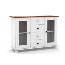 Bílá skříňka s dvířky a se zásuvkami v moderním stylu vyrobená z masivního dřeva MV301