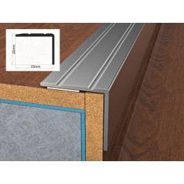 Profil schodový hliníkový samolepící 2,5x2x90 cm stříbro ELOX BOHEMIA