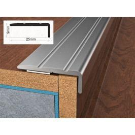 Profil schodový ukončovací samolepící 2,5x0,9x90 cm stříbro ELOX BOHEMIA