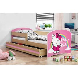 Dětská postel z borovicového dřeva s motivem kočky F1367